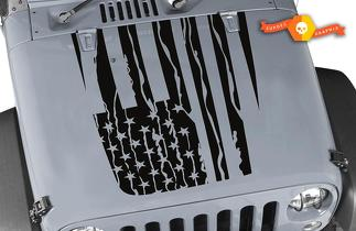Distressed American Flag Hood Decal - Jeep wrangler