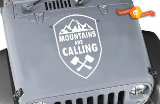 Mountains are Calling Crest vinyl sticker decal Fits any hood- Jeep wrangler 22b