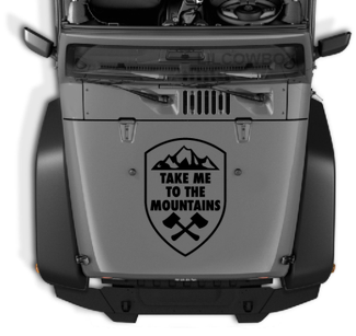 Take Me to the Mountains Crest vinyl sticker decal Fits hood Jeep wrangler 22c