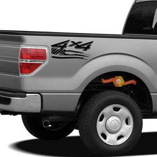 4x4 Off Road US Flag Truck Bed Decal Set GLOSS BLACK for Ford F-150 Super Duty