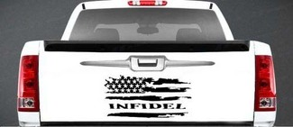 INFIDEL DISTRESSED AMERICAN FLAG VINYL DECAL TAILGATE FORD CHEVY DODGE
