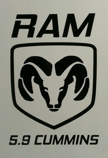 DODGE RAM CUMMINS DECAL ^ MOPAR POWER WAGON 5.9 TURBO DIESEL