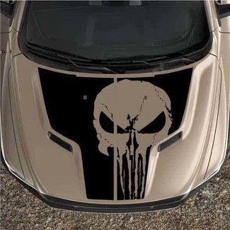 Punisher Rebel Dodge Ram 1500 Sport 2pc Hood Truck Graphic Decal Vinyl Black Out