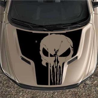 Punisher Rebel Dodge Ram 1500 Sport 2-teilige Motorhaube Grafik-Aufkleber Vinyl Black Out