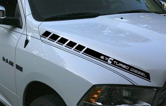Dodge Ram 2 vinyl hood stripes 6.7L turbo diesel decals Hemi Mopar Graphics Rt