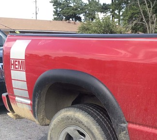 Truck vinyl decal, racing stripe Dodge Ram rear bed Hemi Mopar logo both sides