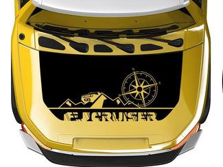 Hood blackout wrap Mountains and Compass for Toyota FJ Cruiser decal any colors