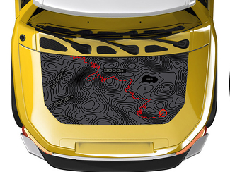 Hood blackout TOPO Topographic Map wrap for Toyota FJ Cruiser decal