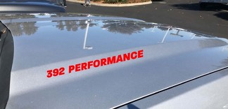 392 Performance Hood Decal Dodge Challenger Charger HEMI Scat Pack V8 SRT Red