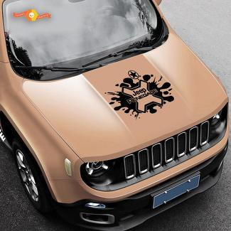 Jeep Renegade Logo Splash Army Star Grunge Graphic Vinyl Decal Sticker Hood Side