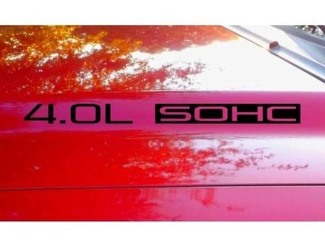 Hood Decal x2 4.0L SOHC V6 text sticker emblem logo 4.0 V1