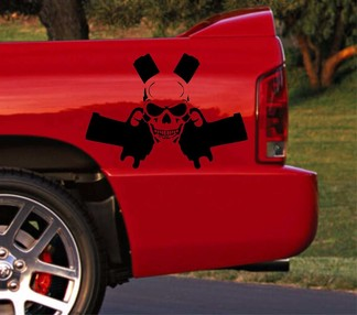 Truck car vinyl decal racing stripe Dodge Ram rear bed skull logo gun both sides