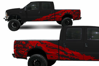 Custom Vinyl Decal Nightmare Wrap Kit for Ford F-250/F-350 Truck 1999-2006 RED