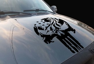 Punisher Eagle Skull Vinyl Hood Decal fits All Ford Ram Chevy Nissan Toyota Jeep