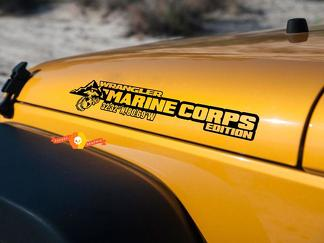 "Side Hood Marine Corps USMC Decal Vinyl Graphic for Jeep Wrangler 27""x5"