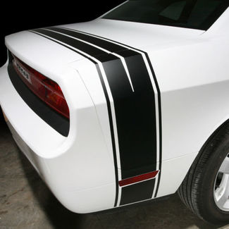 2008-2014 Dodge Challenger Rear Trunk Quarter Panel Side Stripes Decals Rally