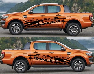 2x Ford Ranger Wildtrack Grote Zij Vinyl Decals Grafiek Sticker 2015-2019