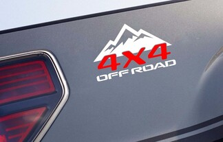 (2) 4x4 OFF ROAD Mountain bed panel decal sticker emblem racing truck WR v2