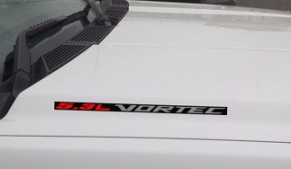 5.3L Vortec Hood Vinyl Decal Sticker: Chevrolet Silverado GMC Sierra (Block) Black background