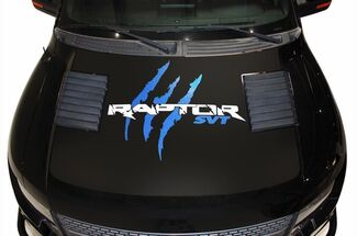 Vinyl Decal Raptor Hood Wrap for F-150 Raptor SVT 10-14 F150 WHITE + BLUE Tear