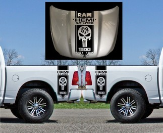 3X Dodge Hemi 5.7 liter Ram bed side and hood Vinyl Decals graphics kit  stripe