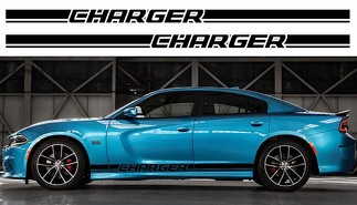 2X Dodge Charger Rocker Panel decals Stripe Vinyl Graphics Kit 2011-2018