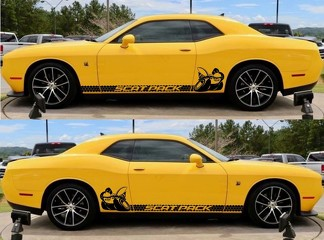 2X Dodge Challenger Scat Pack Rocker Panel decals Stripe  Vinyl Graphics Scatpack
