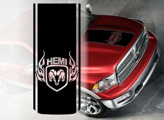 Dodge Hemi Ram Hood Vinyl Decals graphics rally stripe