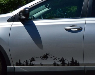 Mountains and Forest Door Decal, Custom Vinyl Art Sticker for Cars, Campers, RV, Trailer, Truck Pacific northwest Nature Scene