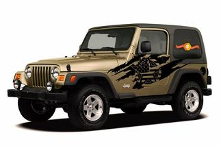 JEEP WRANGLER (1999-2006) CUSTOM VINYL DECAL WRAP KIT - ARMY STAR TORN