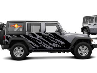 JEEP WRANGLER (2007-2016) 4-DOOR CUSTOM VINYL DECAL KIT - SHRED