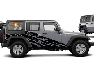 JEEP WRANGLER (2007-2016) 4-DOOR CUSTOM VINYL DECAL KIT - TORN