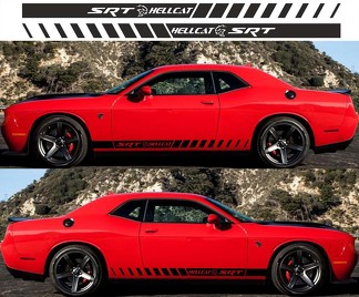 2X DODGE CHALLENGER Hellcat Side Vinyl Decals graphics rally sticker 2009 - 2018