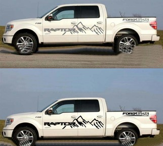 2 PCS Graphics Mountain Car Sticker Pickup Truck Rear Decal For Ford Raptor F150