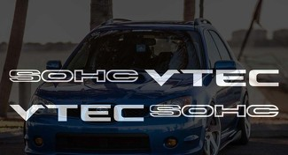 2x Vtec SOHC Decal Sticker - D16 B16 B18 B20 Civic JDM Honda Vtec Si Type R