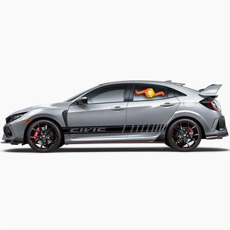 2X Multiple Color Graphics Strip Car Racing Vinyl Decal Sticker for Honda Civic