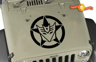 JEEP US ARMY STAR DECEPTICON STICKER VINYL DECAL - SELECT SIZE