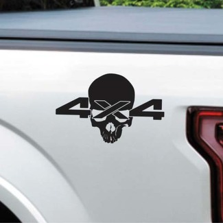 (2X) Skull 4 X4 Logo Decal Vinyl Sticker Truck Bed Coal Roller For Dodge Ram 1500