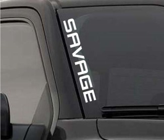 SAVAGE Windshield Sticker Vinyl Window Decal Lifted Truck Coal Roller For F150