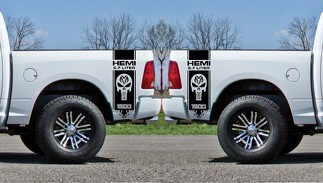 2x Dodge Hemi 5.7 liter Ram 1500 Bed side  Vinyl Decals graphics rally stripe