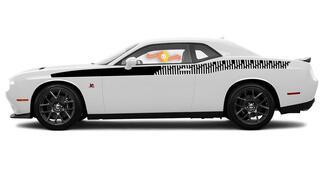 2008 & Up Dodge Challenger Bodyline Strobe Racing Stripe Kit in voller Länge