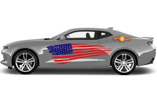 Pair of USA American Flag Stripe Kit Universal Fit for many Vehicles 2 colors