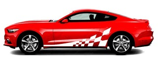 2015 & 2020 Mustang Side Accent Checker Flag Stripe Kit