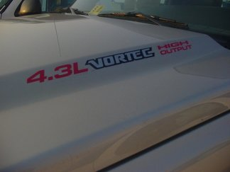 4.3L Vortec High Output three colored Hood Decals : Fits Chevrolet Silverado Colorado GMC Sierra Canyon Trucks