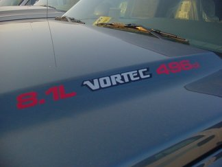 8.1L Vortec 496ci three colored Hood Decals : Fits Chevrolet Silverado GMC Sierra Avalanche Trucks