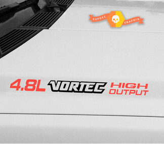 4.8L Vortec High Output three colored Hood Decals : Fits Chevrolet Silverado Colorado GMC Sierra Canyon Trucks