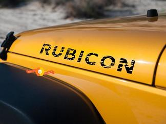 Jeep Wrangler distressed rubicon hood decals