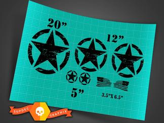 Jeep Wrangler Oscar Mike distressed style military star basic 7 decal kit