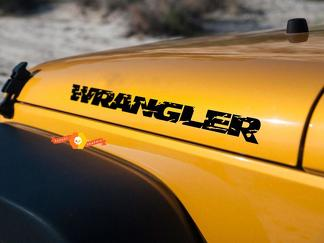Jeep Wrangler distressed Wrangler hood decals