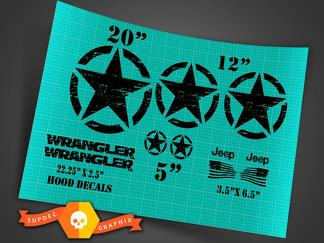 Jeep Wrangler Oscar Mike style military distressed star decal kit +  hood decals